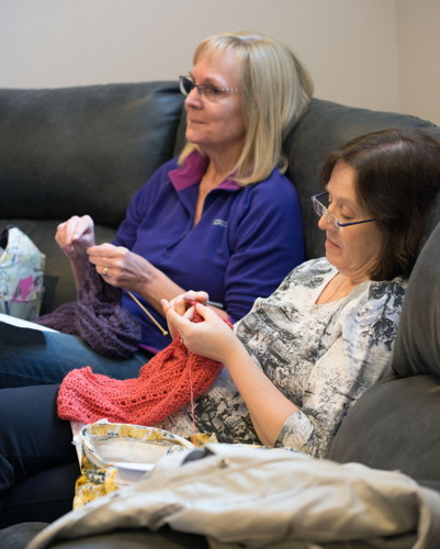 A whole lot of knitting going on at the Shades of Grey band practice in Barrhaven, Ontario, April 5, 2017. Photo by Garth Gullekson