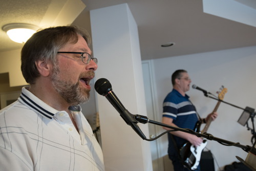 Joe and Scott singing at the Shades of Grey band practice in Barrhaven, Ontario, April 5, 2017. Photo by Garth Gullekson