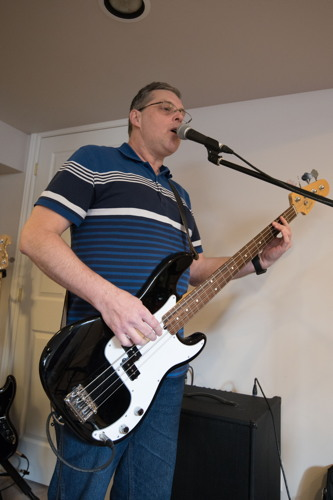 Scott singing and playing at the Shades of Grey band practice in Barrhaven, Ontario, April 5, 2017. Photo by Garth Gullekson