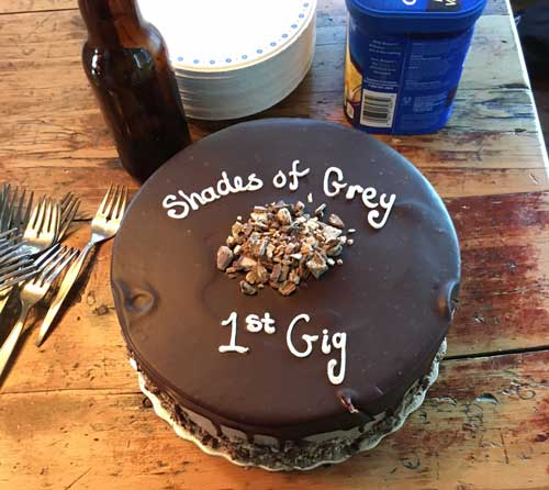 Shades of Grey celebrate their first gig at Marc's cottage on September 9, 2017.